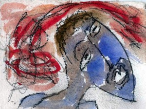 """Thornton Dial, """"Lookin' Up"""", ca. 1993. 5"""" x 7"""", mixed media on paper."""