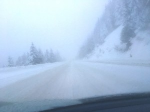 With chains on the tires, going over Snoqualmie Pass in Washington State