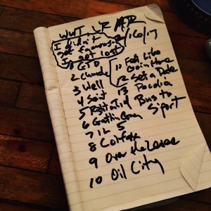 Set list from White Water Tavern, Little Rock, 2/16/17